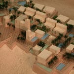 A detail view of an architectural scale model of the Jefel Hafeet Hotel and Resort in Abu Dhabi, designed by Callison Architects in Seattle