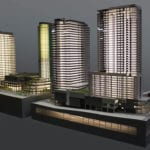 Full view of the architectural scale model showing the expansion of Lincoln Square in downtown Bellevue, Washington for the Kemper Development Company showing the built-in lighting features