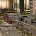 Close up street view of the architectural scale model showing the expansion of Lincoln Square in downtown Bellevue, Washington for the Kemper Development Company