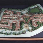 View from above of architectural scale model of La Vida Real Condominiums created for Mithune Architecture