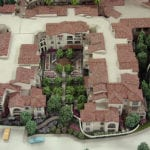 View from above of an enclosed garden area and surrounding buildings in the La Vida Real Condominiums architectural scale model created for Mithune Architecture