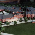 Detail view of the architectural scale model of a development near Penn State University