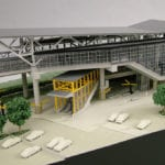 Detail view of the exterior of the the Link Light Rail station at Tukwila International Boulevard near SeaTac Airport, from the architectural scale model created for Hewitt Archtecture