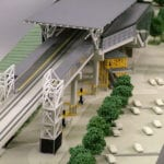 Detail view of the exterior and the platforms of the the Link Light Rail station at Tukwila International Boulevard near SeaTac Airport, from the architectural scale model created for Hewitt Archtecture