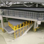 Detail view of the multiple levels and escalators serving the Link Light Rail station at Tukwila International Boulevard near SeaTac Airport, from the architectural scale model created for Hewitt Archtecture