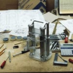 View of the construction of the engineering scale model of a Robbins raised drill in the studio