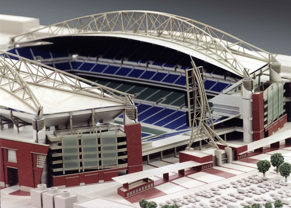 Detail view from the northeast of the architectural scale model of CenturyLink Field, home of the Seattle Seahawks football team, showing both interior and exterior features