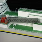 A detail view of the forward decking on the engineering scale model of the Sea Launch Commander
