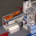 A detail view of the rear deck on the engineering scale model of the RV Sikuliaq