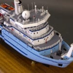 A detail view from above of the bow of the engineering scale model of the RV Sikuliaq