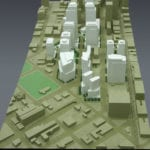 View of the architectural massing model created for Vulcan, Inc. depicting South Lake Union neighborhood development