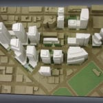 A view from above of the architectural massing model created for Vulcan, Inc. depicting South Lake Union neighborhood development