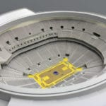 Interior view of the architectural scale model of Chase Center basketball arena, home of the Golden State Warriors