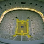 Interior view of the architectural scale model of Chase Center basketball arena, home of the Golden State Warriors, showing luxury seating section lighting features