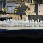 Full view of the Seattle waterfront architectural massing model created for James Corner Field Operations for Seattle Waterfront Redevelopment on public display