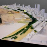 View from above along the former Alaskan Way Viaduct site of the Seattle waterfront architectural massing model created for James Corner Field Operations for Seattle Waterfront Redevelopment showing public common area development