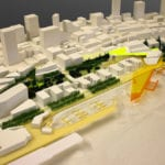 Waterfront details of the Seattle architectural massing model created for James Corner Field Operations for Seattle Waterfront Redevelopment