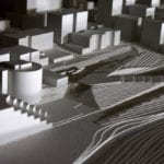 Detail view of the Seattle waterfront architectural massing model created for James Corner Field Operations for Seattle Waterfront Redevelopment