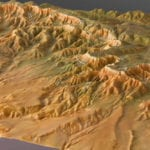 Three quarter view of the topographic scale model of the Bryce Canyon National Park
