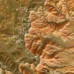 Detail view of the topographic scale model of Bryce Canyon National Park showing park features