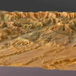 Three quarter view of the topographic scale model of Bryce Canyon National Park showing the relief