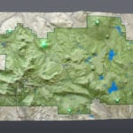 Plan view the Lassen Volcanic National Park topographic scale model demonstrating lighting features
