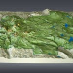Full view the Lassen Volcanic National Park topographic scale model demonstrating lighting features