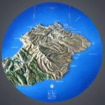 Full view of the Santa Cruz topographic scale model