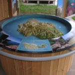 Full view of the Santa Cruz topographic scale model with stand