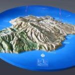 Three quarter view of the Santa Cruz topographic scale model