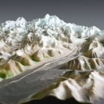 Glacier detail of the Denali National Park topographic scale model