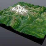 Full view of Mount Rainier topographic scale model