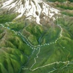 Topographic scale model of the Mount Rainier trails with lighting details