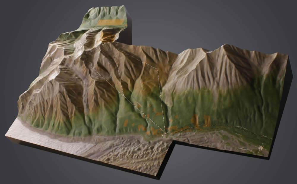 Full view Kennicott Mines National Historic Landmark topographic scale model