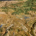 Detail of the Oregon State topographic scale model