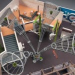 Close up of interior of Pacific Science Center architectural scale model