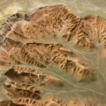 Detail view of Bryce Canyon National Park outdoor topographic scale model