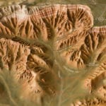 Detail view of Bryce Canyon National Park outdoor topographic scale model showing trails