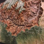 Detail of the Grand Canyon National Park topographic scale model showing terrain and the Colorado River