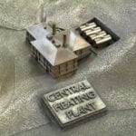 Detail view of the central heating plant from the bronze cast museum scale model of the Angel Island Immigration Station in San Francisco Bay, California