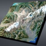 Full view of Katmai National Park and Preserve topographic scale model