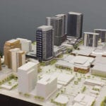 View of an architectural scale model of the central Bellevue, Washington area