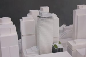 View of the architectural scale model of the Boren Project's focal building