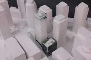 Close-in view of the architectural scale model of Boren Project's focal building