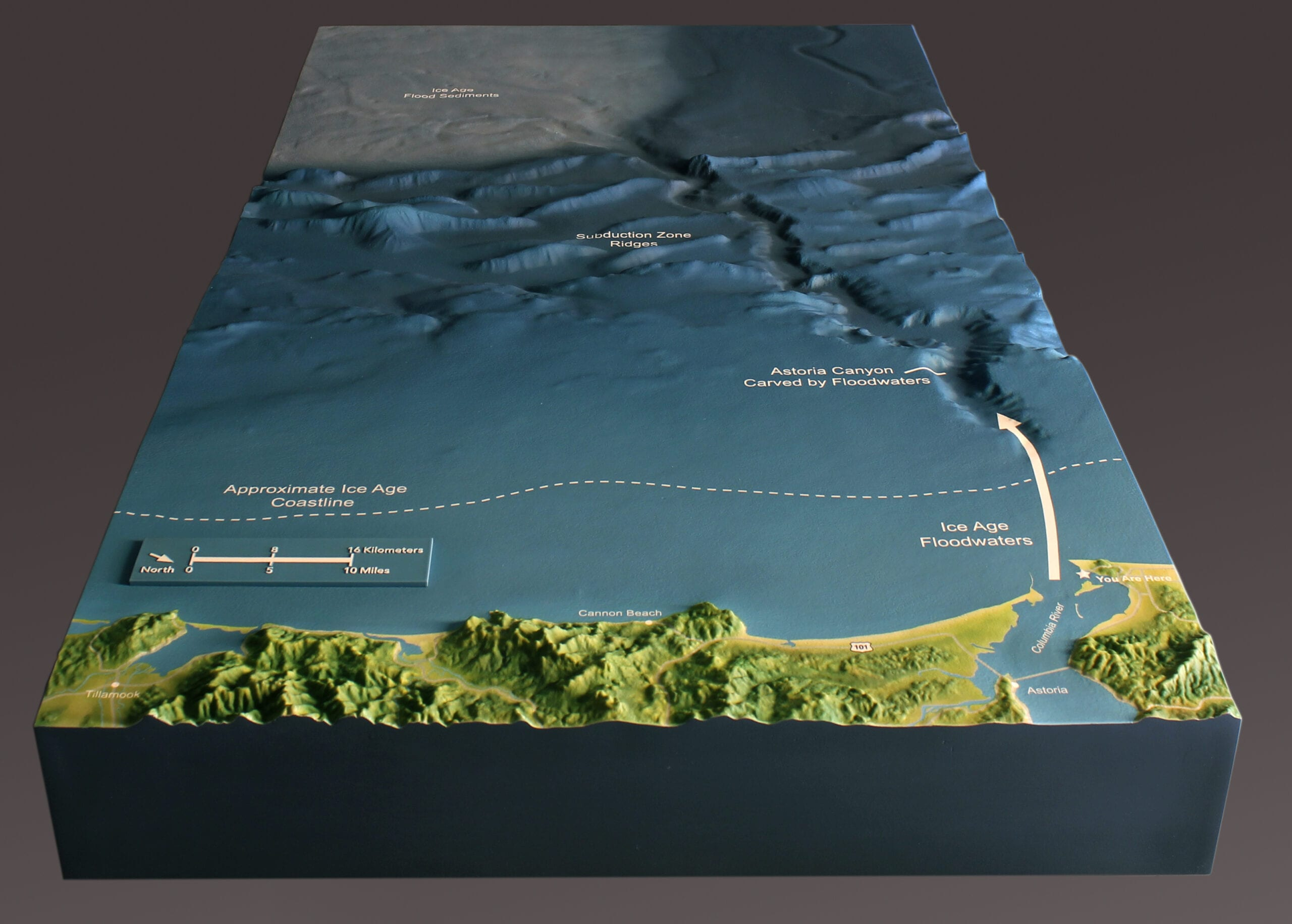 View of Cape Disappointment topographic scale model