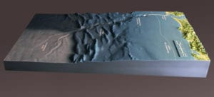 View parallel to shoreline of Cape Disappointment topographic scale model