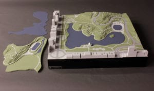 Architectural scale model of a third alternative for the North end of New York's Central Park