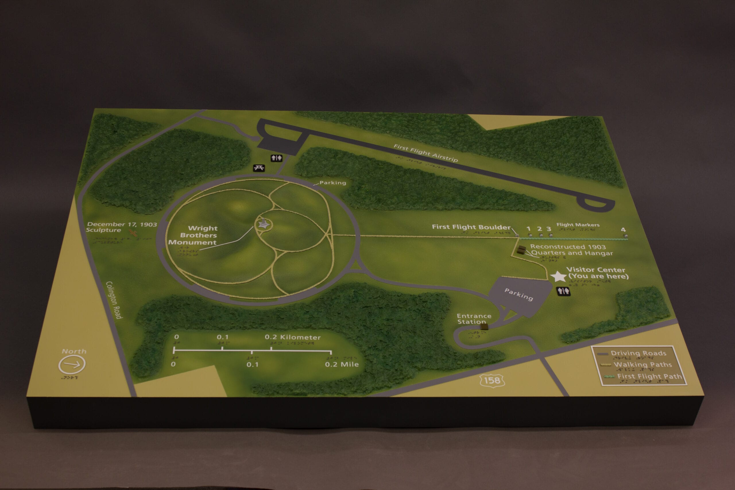 Wright Brothers National Memorial scaled terrain model showing the site of the first controlled powered flight in December of 1903